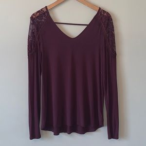American Eagle Soft & Sexy Maroon Lace Shirt